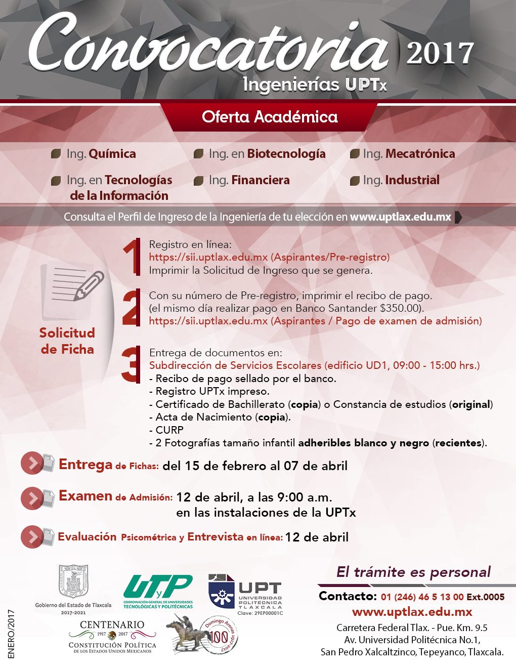 Convocatoria 2017 universidad polit cnica de tlaxcala for Convocatoria de docentes 2017