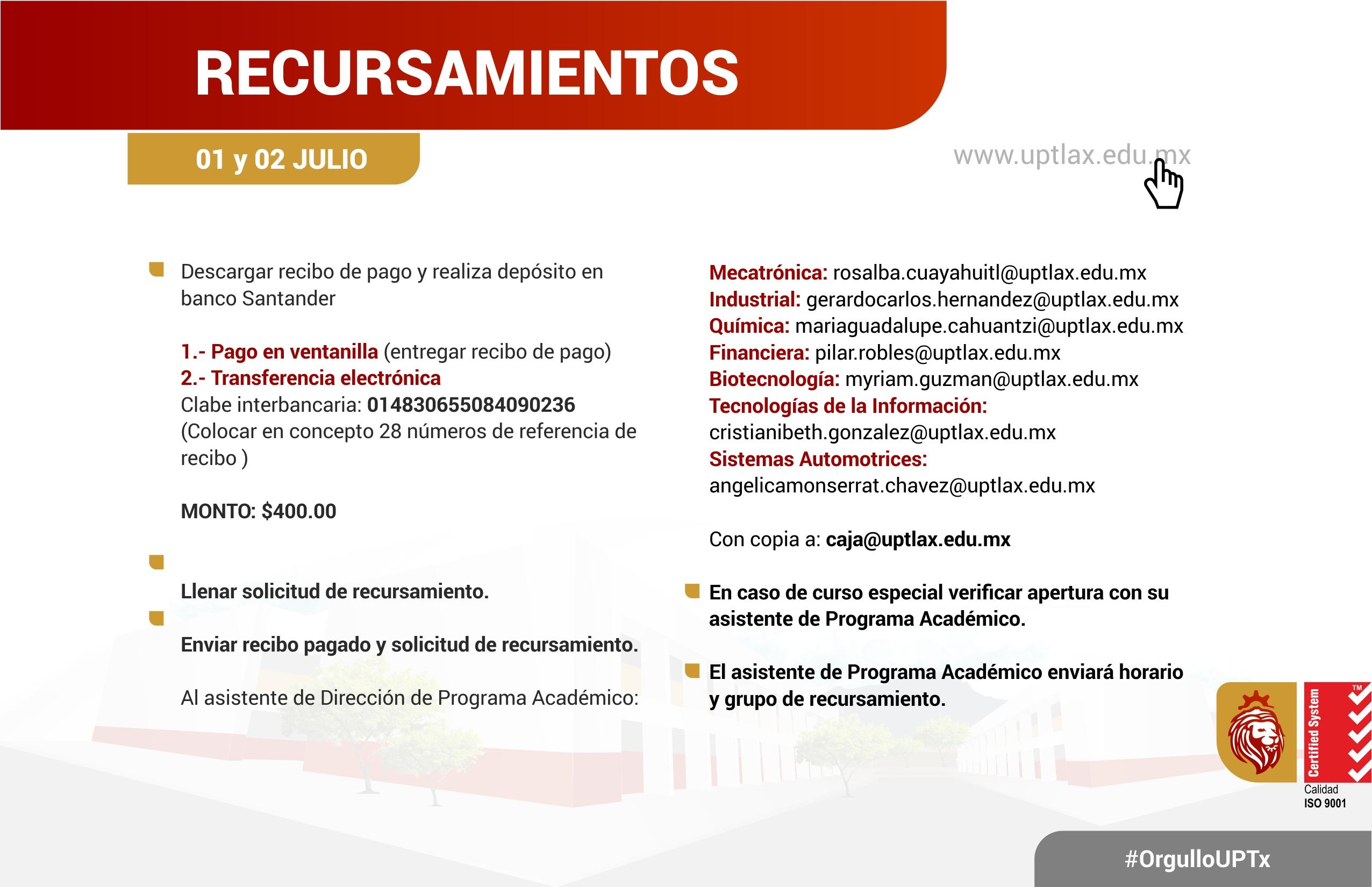 RECURSAMIENTOS 1 Y 2 DE JULIO